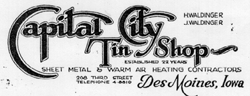 Waldinger Sheet Metal Origins / 1906 Capital City Tin Shop Logo